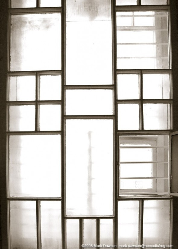 Window in a stairwell of the KGB headquarters in Vilnius.