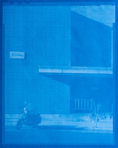 Cyanotype contact print made from a BW 4x5 negative. Exposed in bright sun for 180 seconds.