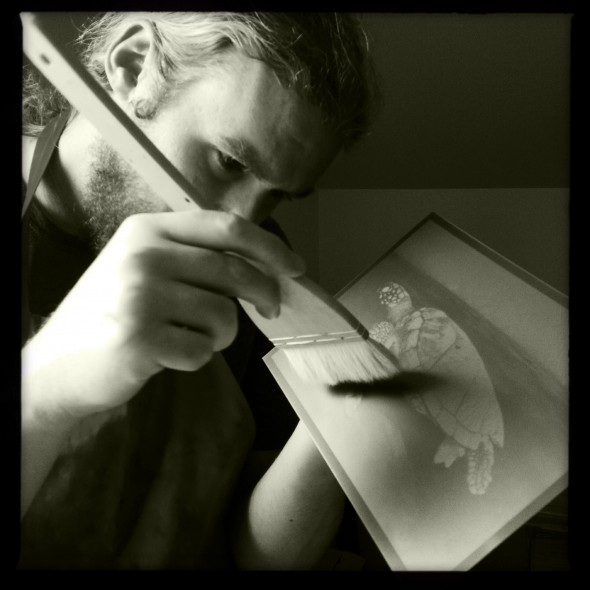 Photogravure day at Alan's workshop, Trenton, Maine.