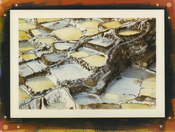 The Maras Salt Ponds, Peru. Tri-color gum print, 6x9 inches.