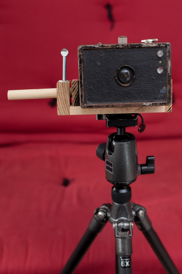 Tripod mount for box cameras and other objects without a 1/4-20 tripod hole.