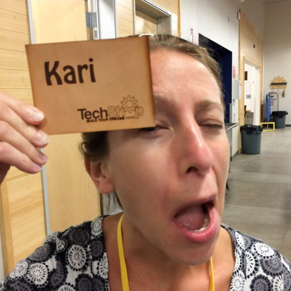 The first thing we had to do was take a training class, in which we etched and cut our own leather patches. Kari was particularly proud of hers.