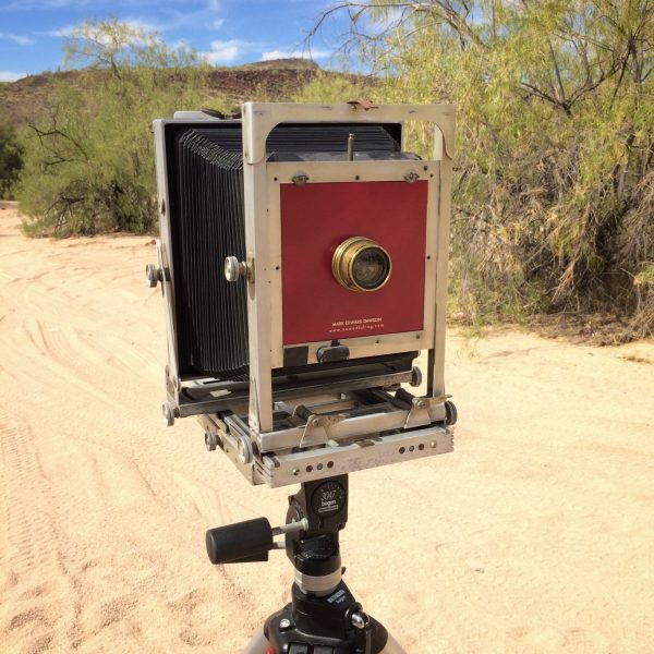 This is my 8x10 inch camera, an old Eastman Commercial View, with a brass barrel lens I picked up on Ebay and a custom-cut lens board.