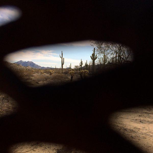 Mexico, as seen through the border fence.