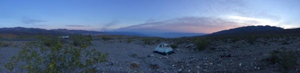 Death Valley could be a terrifying place to have a major car breakdown, but in my case it worked out alright. I had a fine campsite with a beautiful view down over the valley.