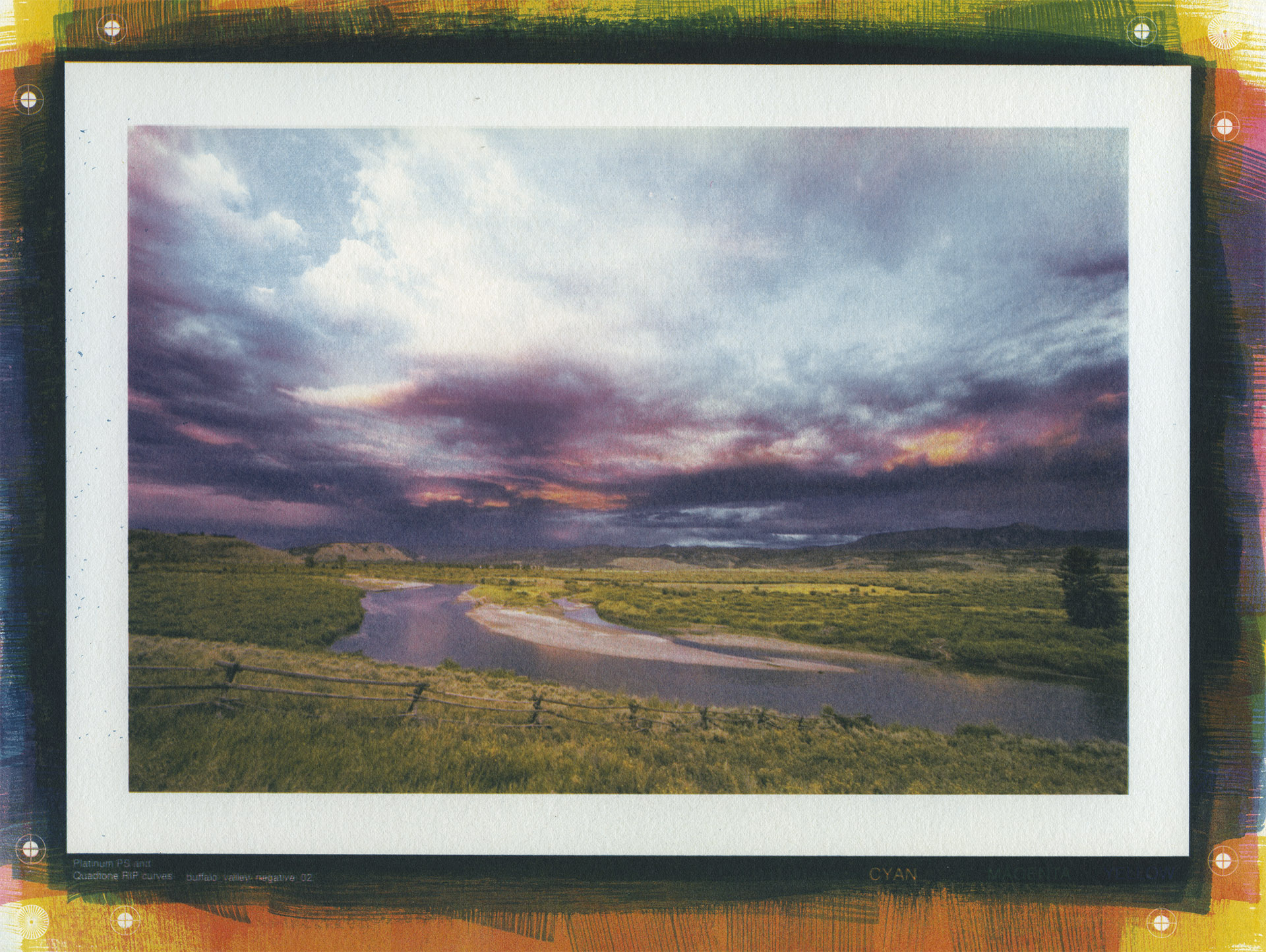 Buffalo Valley, Wyoming. Tri-color gum print, 6x9 inches.
