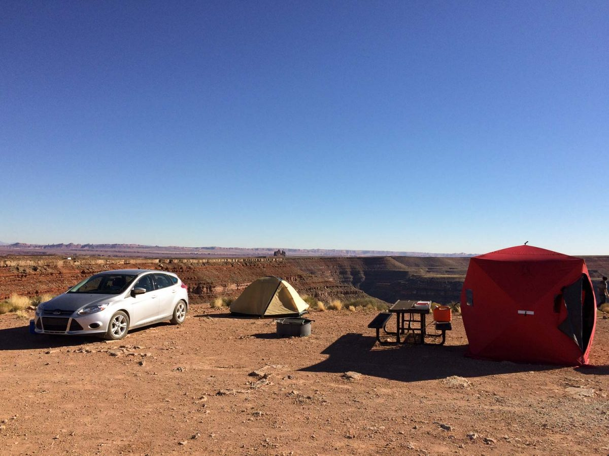 Here my darkroom tent (red block at far right) is set up on the edge of the Goosenecks portion of the San Juan River in southern Utah.