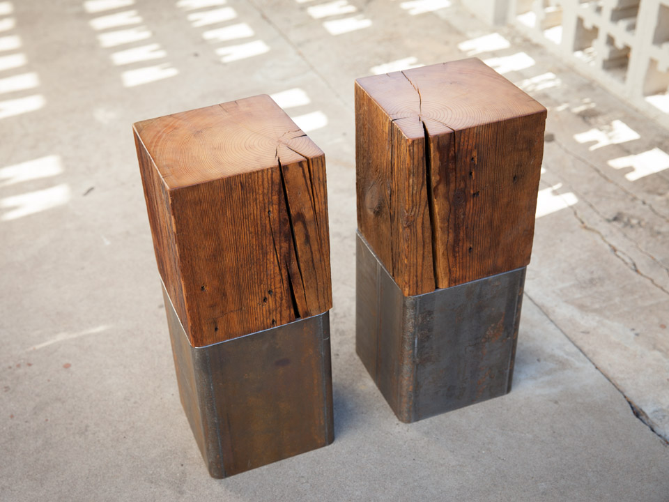 Dawson's Finest Reclaimed Wood and Steel Endtable and Toe Crusher