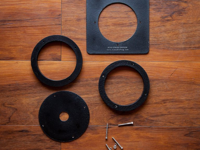 DIY Recessed Lens Board: waterjet, powdercoating, and of course, lasers