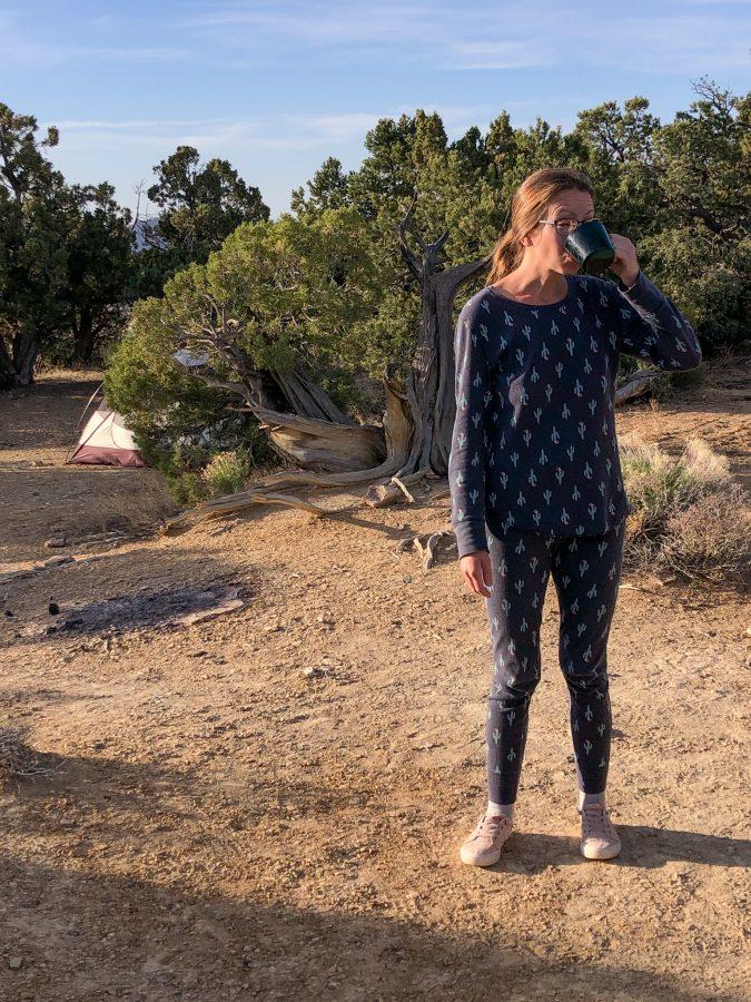 Two of Kari's favorite things: coffee and Christmas saguaro long johns.